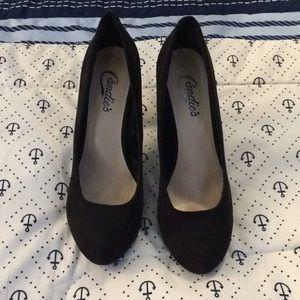 Candies Black Suede Heels 7.5
